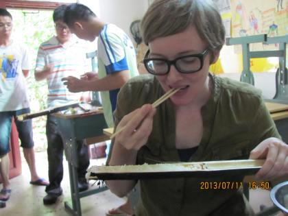 eating bamboo rice
