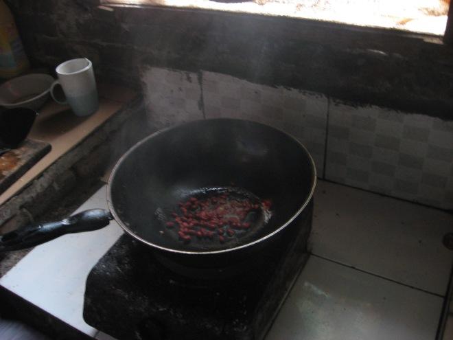 frying peanuts