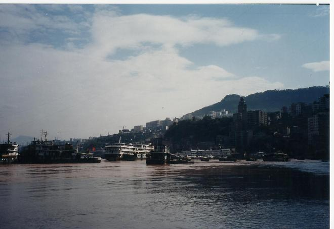 Wanzhou harbor 2000.  The iconic clock tower was demolished because of the floodwaters.