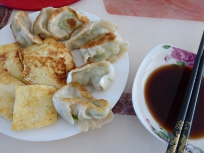 leftover fried jiaozi